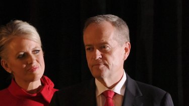 Bill Shorten delivers his speech with his wife Chloe by his side.