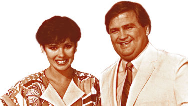 Billy J Smith with Fiona MacDonald. They co-hosted It's a Knockout from 1985 to 1987.