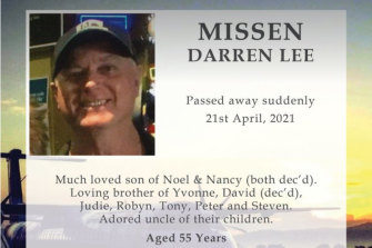 A funeral notice for Darren Missen, who died of a blood clot after an AstraZeneca vaccine, posted to Facebook.
