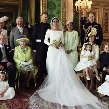 In good times and in bad: Prince Harry and Meghan, the Duchess of Sussex, surrounded by family on their wedding day.