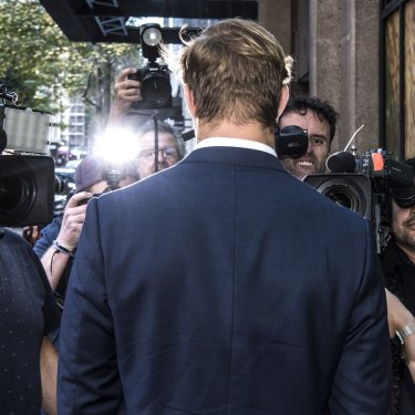 Jack de Belin leaves Sydney's Downing Centre Local and District Court on May 10 this year.