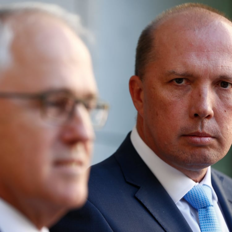 Former prime minister Malcolm Turnbull with immigration minister Peter Dutton last year.