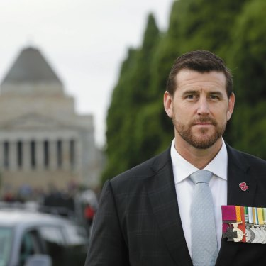 Ben Roberts-Smith on ANZAC Day at the Shrine of Remembrance in Melbourne, 2017.