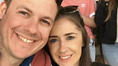 Kerryn Finnis (right) has been separated from her fiance Nick (left) by the travel restrictions Australia has imposed.
