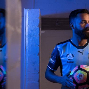 Selfless: Sydney FC captain Alex Brosque in 2017, the year he took a large pay cut to keep the Sky Blues together.