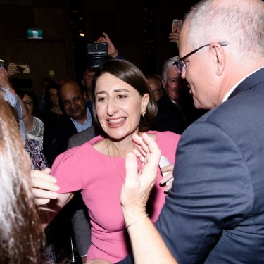 Gladys Berejiklian with Prime Minister Scott Morrison on state election night last year,