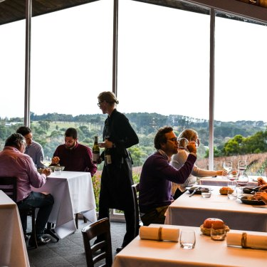The dining room looking out over the vines at Paringa Estate.