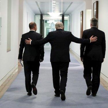 Treasurer Josh Frydenberg, Prime Minister Scott Morrison and Minister for Finance Mathias Cormann are key figures in the re-elected Coalition government.