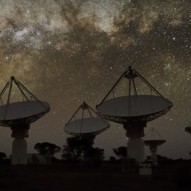 Under the Milky Way, 36 radio telescopes, each with 188 antennas crammed into a drum above the dish, all work as a single instrument capturing radio images of the sky.
