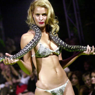 Snakes alive ... Kristy Hinze wears a $1 million bikini and a python for Tigerlily in 2001.