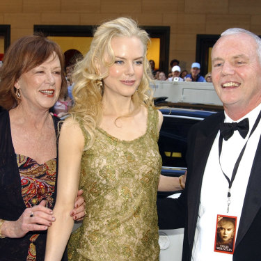 Nicole Kidman in 2003 at the Sydney premiere of her film Cold Mountain, with her mother Janelle and her father Antony, who died of a heart attack in 2014.