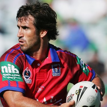 Andrew Johns in action for Newcastle during an NRL match against Canberra in 2006.
