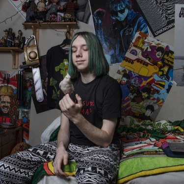 Year 12 Bradfield College student Jarvis Ayres in his bedroom at his Marrickville home.
