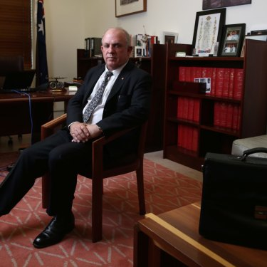 Nationals senator John Williams in his office at Parliament House.