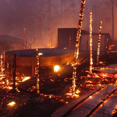 The aftermath of fire in Rainbow Flat near the Pacific Highway on November 9.