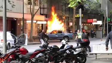 Shire Ali set a ute on fire in Bourke Street before going on a stabbing rampage.