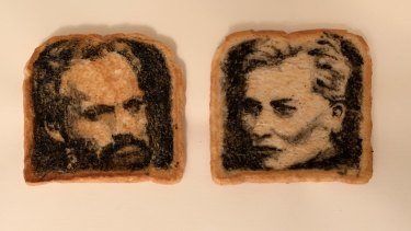 Mitchell's toast art of Hugo Weaving and Cate Blanchett.