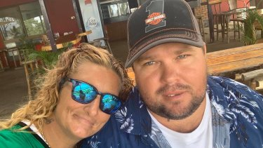 Sharon France (left) was killed in the crash and her husband Brad (right) is with his seriously injured young son.