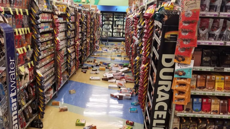Goods fell off the shelves in this supermarket during the earthquake in Alaska.
