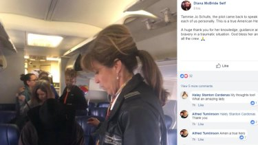 """Diana McBride Self, who described the pilot as """"a true American Hero"""", said she walked back to the plane to greet passengers after the landing."""