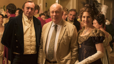 Philip Glenister, Julian Fellowes, Tamsin Greig on the set of Belgravia.