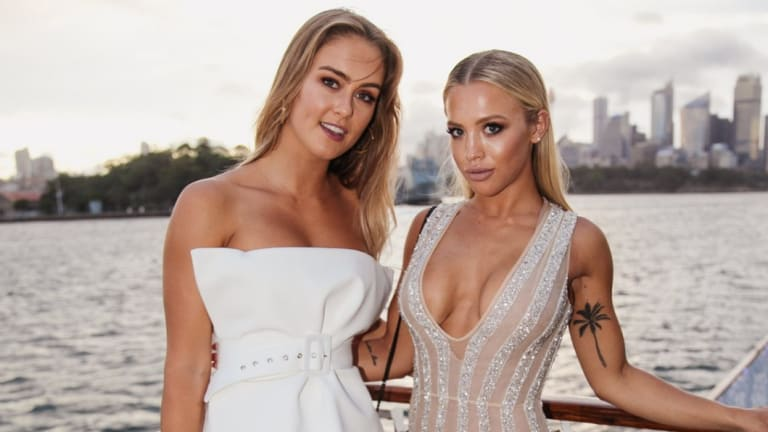 Steph Claire Smith and Tammy Hembrow at a Bondi Sands launch on Sydney Harbour in January.