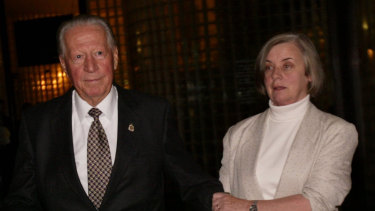 Ken Dyers (left) pictured with his partner Jan Hamilton outside court in 2006.