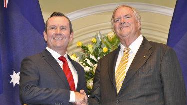 Premier Mark McGowan with new WA Governor Kim Beazley.