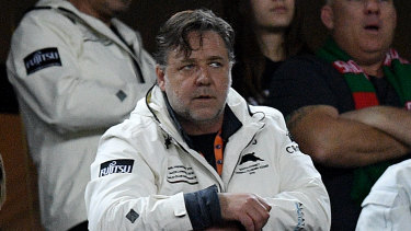 Russell Crowe, pictured here watching the Rabbitohs chalk up another finals win, will be at Allianz Stadium for their preliminary final against the Roosters on Saturday.