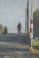 Detail from Clarice Beckett's <i>The Motorcyclist</i>.