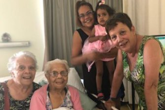 Five generations of Dharrawal women: Tracey Whetnall (far right) pictured in January with her mother Iris Fowler (left), grandmother Ellen James, daugther Shara and granddaughter, Kalina.
