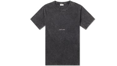 Saint Laurent destroyed logo T-shirt, $500.