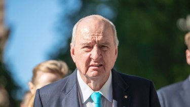 Radio broadcaster Alan Jones arrives at the Supreme Court in Brisbane in May for the defamation trial.