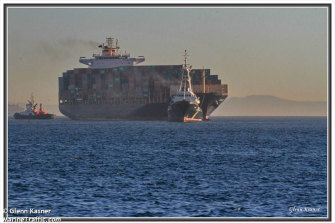 The Kota Legit container ship docked at Fremantle Port on Saturday morning.