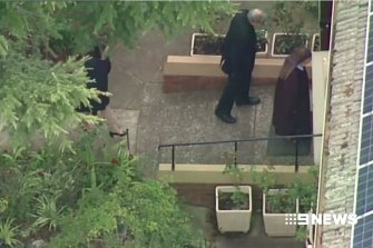 Cardinal Pell entering the Carmelite Monastery in Kew after he was released from Barwon Prison.