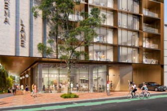 Render of the laneway entry as seen from Murray Street.