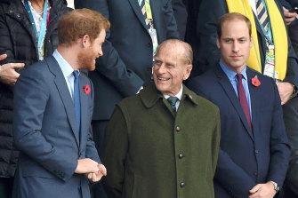 Prince Harry, Prince Philip, the Duke of Edinburgh, and Prince William in 2015.