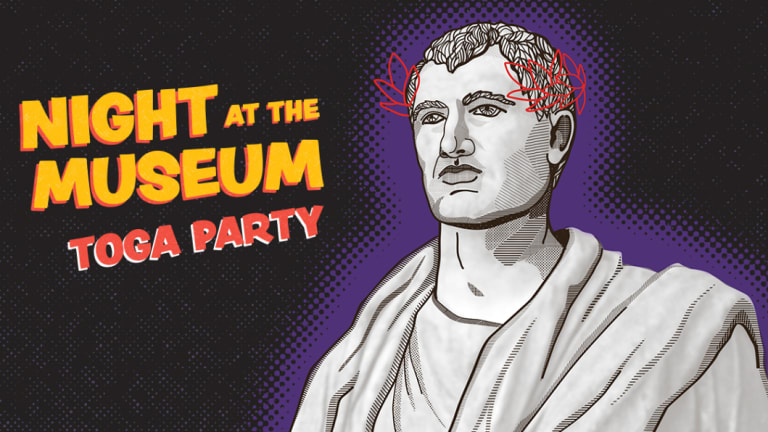 Enter the Night at the Museum Toga Party competition, October 2018.