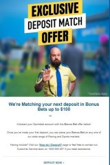 Email offer sent after joining Sportsbet.