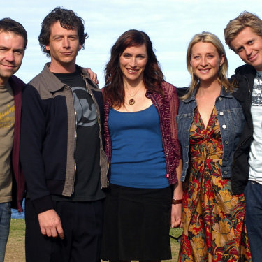 A promotional shot from the second season of Love My Way. From left, Brendan Cowell, Ben Mendelsohn, Claudia Karvan, Asher Keddie and Dan Wyllie.