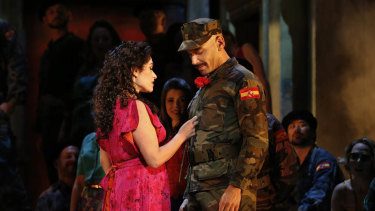 An earlier production, featuring Carmen (left) and her love interest Don Jose.