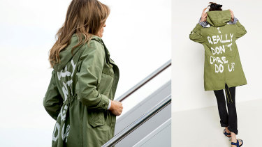 """Melania Trump wore Zara's """"I Really Don't Care Do U?"""" jacket as she boarded a plane to an immigration detention facility,"""
