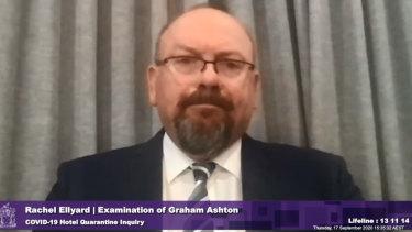 Former chief commissioner Graham Ashton testifying at the inquiry into hotel quarantine.