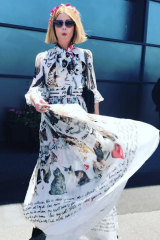 In a Dolce & Gabbana dress at Flemington in 2017 for Oaks Day.
