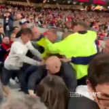 Vision of a fan brawl at Optus Stadium has gone viral.