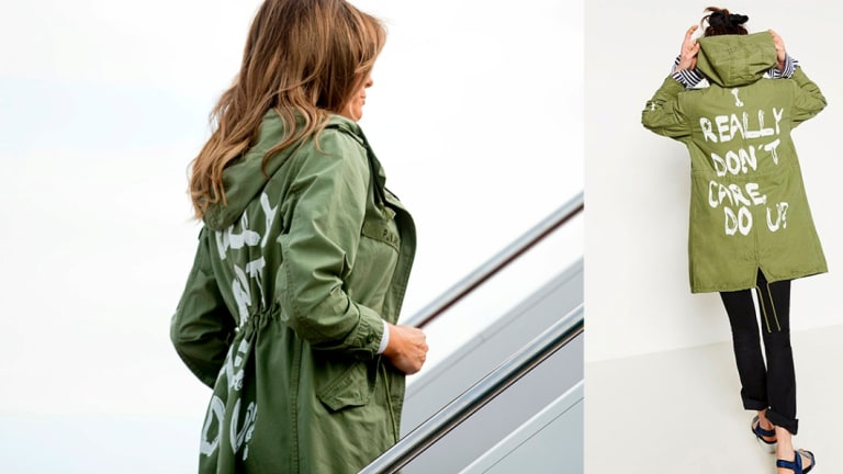 """Melania Trump wore an infamous jacket saying """"I Don't Really Care Do U ?"""" when she visited migrant families on the US-Mexico border."""