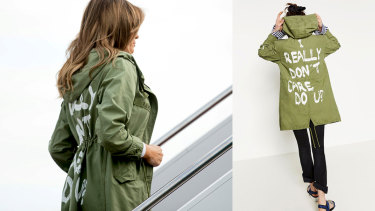 Melania Trump, left, wearing the infamous jacket, by fast fashion label Zara.