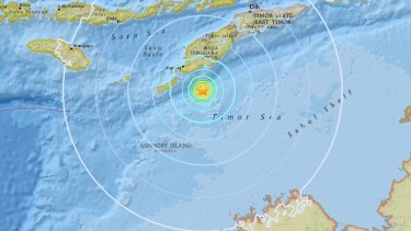 The quake hit 98 kilometres off Kupang, Indonesia, population 282,000.