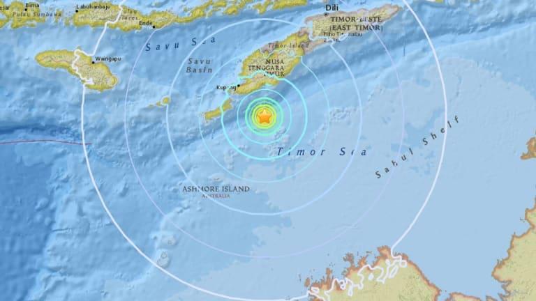 The quake hit 98 kilometres off Kupang, Indonesia, population 282,000.