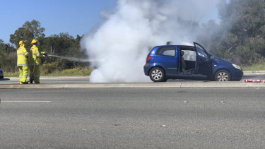 The alleged stolen car crashed into two other vehicles before it burst into flames
